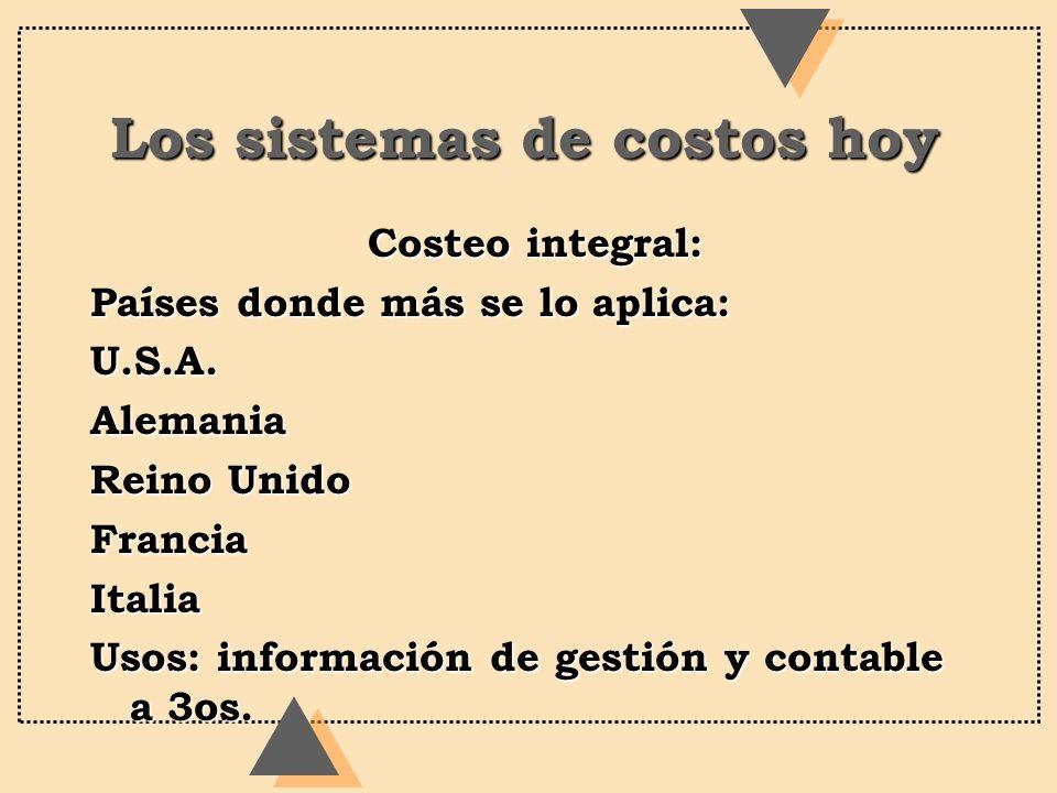 Los sistemas de costos hoy Costeo integral: Costeo integral: Países donde más se lo aplica: U.S.A.Alemania Reino Unido FranciaItalia Usos: información