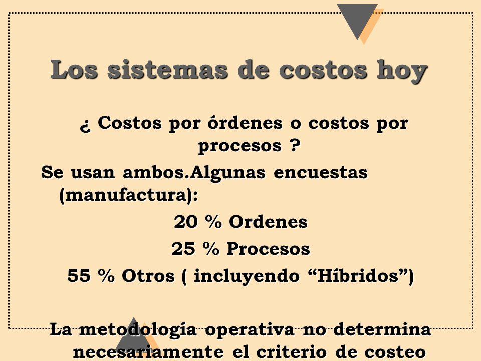 Los sistemas de costos hoy ¿ Costos por órdenes o costos por procesos ? ¿ Costos por órdenes o costos por procesos ? Se usan ambos.Algunas encuestas (