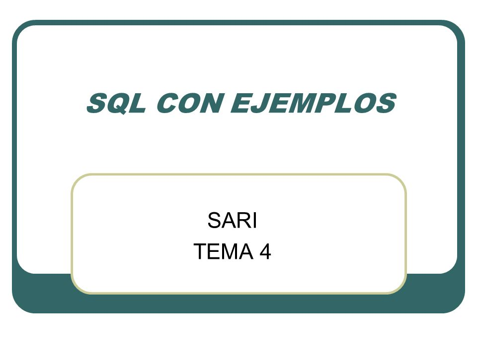 JOIN Mostrar en una consulta el nombre de los empleados junto con la remuneración en el 2004 Existen dos formas equivalentes CON INNER JOIN...ON SELECT PERSONAL.NOMBRE, Sum(SALARIO.SUELDO) AS Remuneracion FROM PERSONAL INNER JOIN SALARIO ON PERSONAL.COD = SALARIO.CA_PERSONAL WHERE SALARIO.AÑO=2004 GROUP BY PERSONAL.NOMBRE; PONIENDO LA INFORMACIÓN DE UNIÓN EN EL WHERE SELECT PERSONAL.NOMBRE, Sum(SALARIO.SUELDO) AS Remuneracion FROM PERSONAL,SALARIO WHERE PERSONAL.COD = SALARIO.CA_PERSONAL AND SALARIO.AÑO=2004 GROUP BY PERSONAL.NOMBRE;