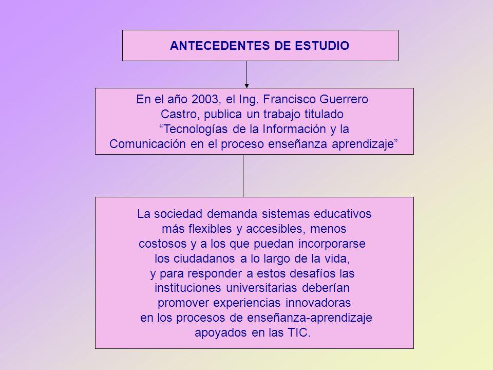 ANTECEDENTES DE ESTUDIO En el año 2003, el Ing. Francisco Guerrero Castro, publica un trabajo titulado Tecnologías de la Información y la Comunicación