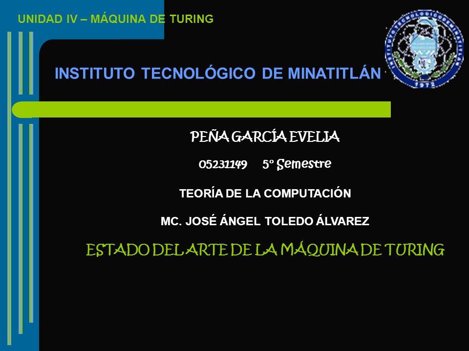UNIDAD IV – MÁQUINA DE TURING INSTITUTO TECNOLÓGICO DE MINATITLÁN PEÑA GARCÍA EVELIA 05231149 5° Semestre TEORÍA DE LA COMPUTACIÓN MC. JOSÉ ÁNGEL TOLE