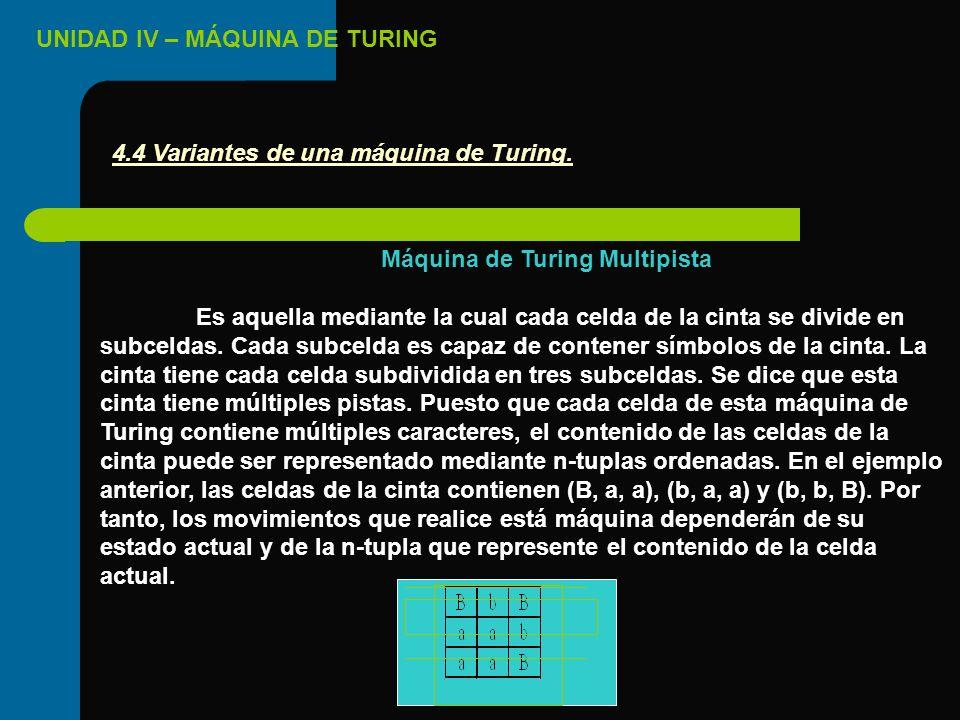 UNIDAD IV – MÁQUINA DE TURING 4.4 Variantes de una máquina de Turing. Máquina de Turing Multipista Es aquella mediante la cual cada celda de la cinta