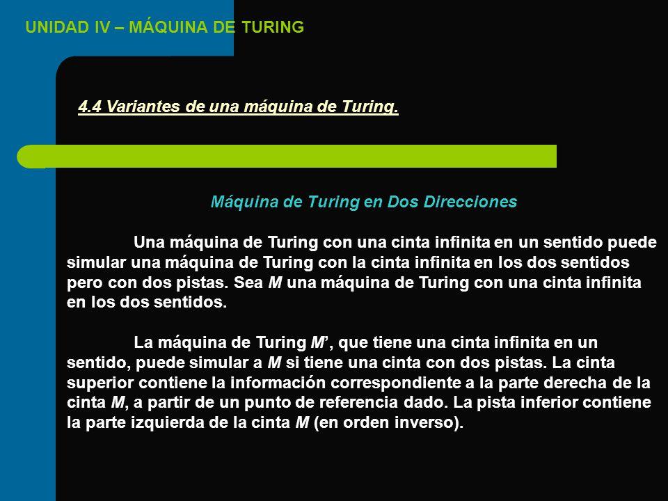 UNIDAD IV – MÁQUINA DE TURING Máquina de Turing en Dos Direcciones Una máquina de Turing con una cinta infinita en un sentido puede simular una máquin