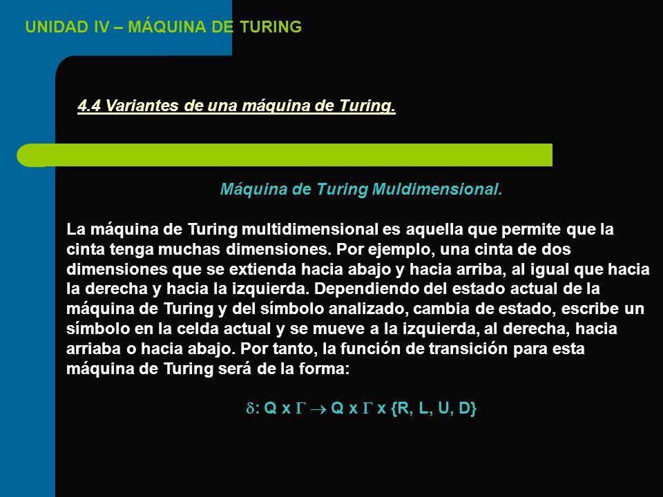 UNIDAD IV – MÁQUINA DE TURING Máquina de Turing Muldimensional. La máquina de Turing multidimensional es aquella que permite que la cinta tenga muchas