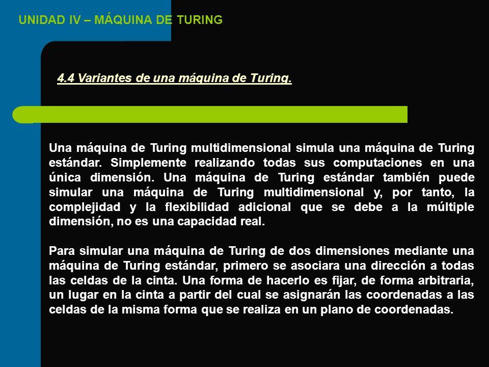 UNIDAD IV – MÁQUINA DE TURING Una máquina de Turing multidimensional simula una máquina de Turing estándar. Simplemente realizando todas sus computaci
