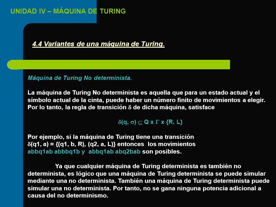 UNIDAD IV – MÁQUINA DE TURING Máquina de Turing No determinista. La máquina de Turing No determinista es aquella que para un estado actual y el símbol