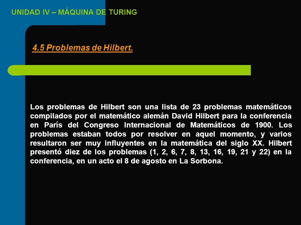 UNIDAD IV – MÁQUINA DE TURING Los problemas de Hilbert son una lista de 23 problemas matemáticos compilados por el matemático alemán David Hilbert par