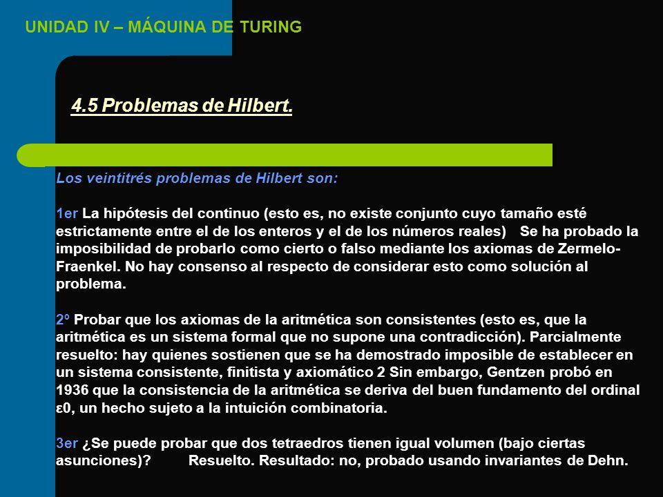 UNIDAD IV – MÁQUINA DE TURING Los veintitrés problemas de Hilbert son: 1er La hipótesis del continuo (esto es, no existe conjunto cuyo tamaño esté est