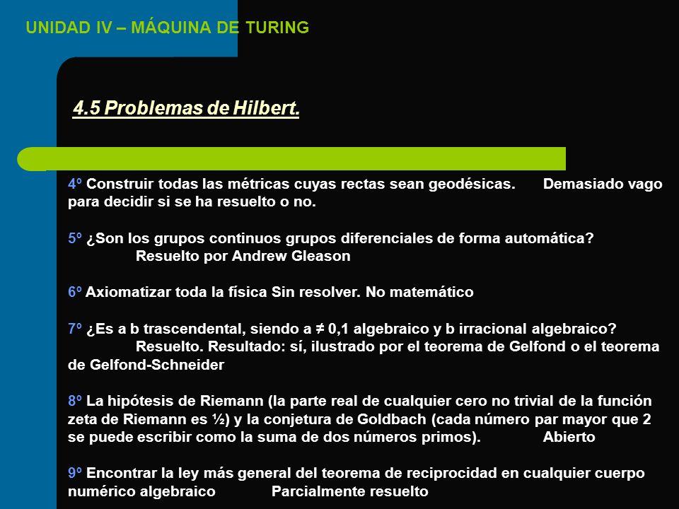 UNIDAD IV – MÁQUINA DE TURING 4º Construir todas las métricas cuyas rectas sean geodésicas.Demasiado vago para decidir si se ha resuelto o no. 5º ¿Son
