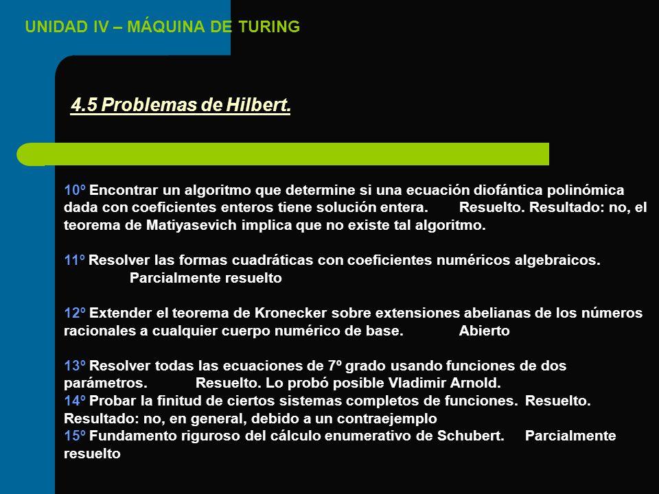 UNIDAD IV – MÁQUINA DE TURING 10º Encontrar un algoritmo que determine si una ecuación diofántica polinómica dada con coeficientes enteros tiene soluc