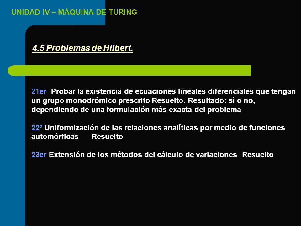 UNIDAD IV – MÁQUINA DE TURING 21er Probar la existencia de ecuaciones lineales diferenciales que tengan un grupo monodrómico prescritoResuelto. Result