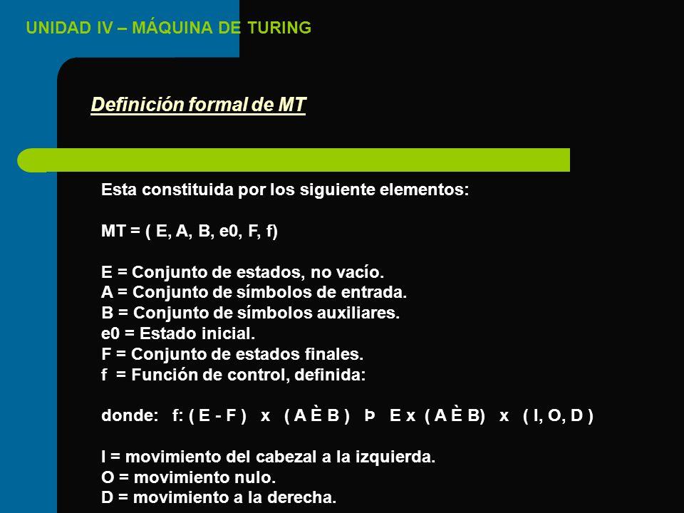 UNIDAD IV – MÁQUINA DE TURING Esta constituida por los siguiente elementos: MT = ( E, A, B, e0, F, f) E = Conjunto de estados, no vacío. A = Conjunto
