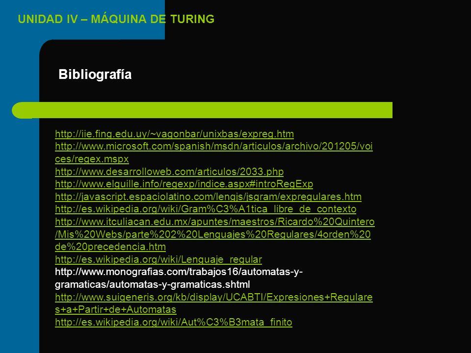 UNIDAD IV – MÁQUINA DE TURING Bibliografía http://iie.fing.edu.uy/~vagonbar/unixbas/expreg.htm http://www.microsoft.com/spanish/msdn/articulos/archivo