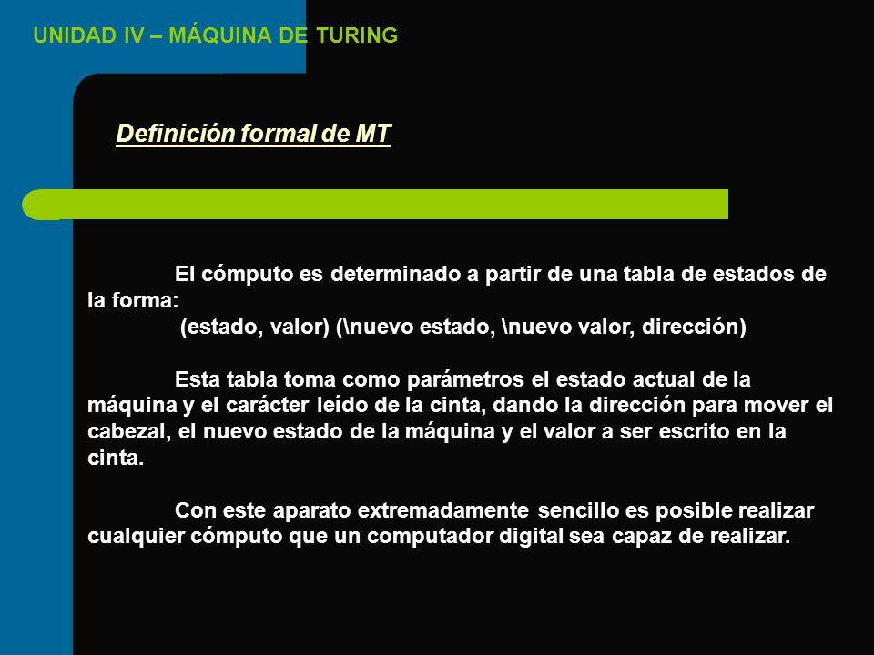 UNIDAD IV – MÁQUINA DE TURING El cómputo es determinado a partir de una tabla de estados de la forma: (estado, valor) (\nuevo estado, \nuevo valor, di