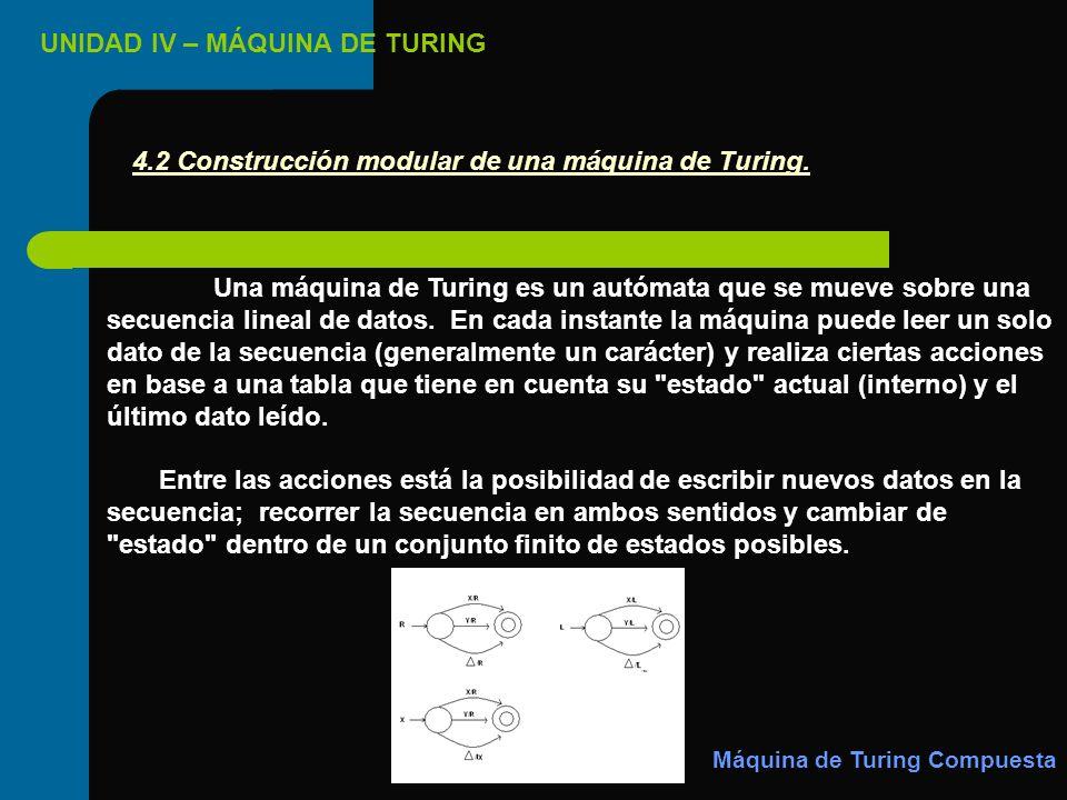 UNIDAD IV – MÁQUINA DE TURING Una máquina de Turing es un autómata que se mueve sobre una secuencia lineal de datos. En cada instante la máquina puede