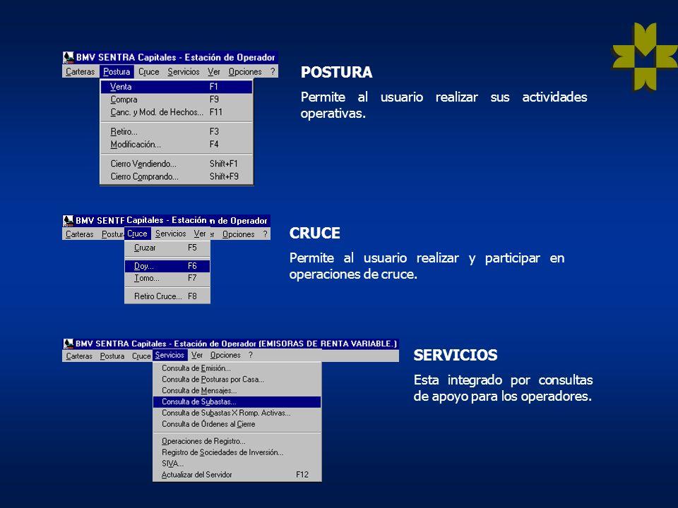 SERVICIOS Esta integrado por consultas de apoyo para los operadores.
