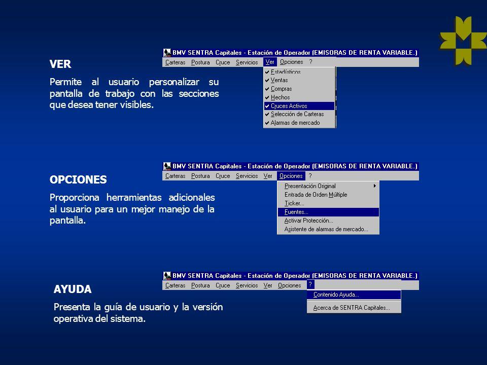 SERVICIOS Esta integrado por consultas de apoyo para los operadores. CRUCE Permite al usuario realizar y participar en operaciones de cruce. POSTURA P