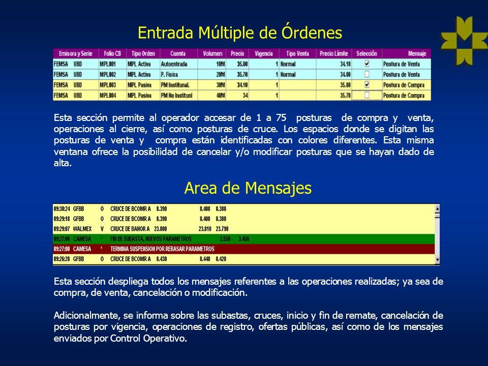 Entrada Múltiple de Órdenes Esta sección permite al operador accesar de 1 a 75 posturas de compra y venta, operaciones al cierre, así como posturas de cruce.