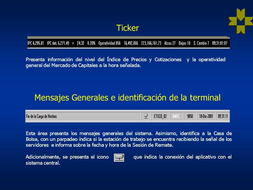 Ticker Presenta información del nivel del Índice de Precios y Cotizaciones y la operatividad general del Mercado de Capitales a la hora señalada.