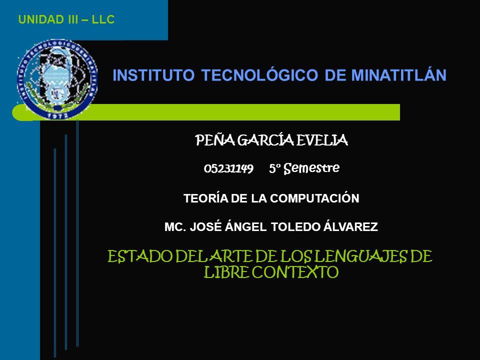 UNIDAD III – LLC INSTITUTO TECNOLÓGICO DE MINATITLÁN PEÑA GARCÍA EVELIA 05231149 5° Semestre TEORÍA DE LA COMPUTACIÓN MC. JOSÉ ÁNGEL TOLEDO ÁLVAREZ ES