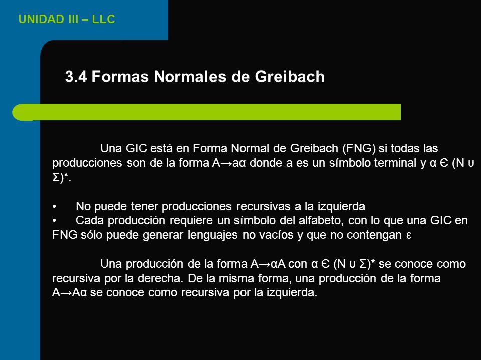 UNIDAD III – LLC 3.4 Formas Normales de Greibach Una GIC está en Forma Normal de Greibach (FNG) si todas las producciones son de la forma Aaα donde a