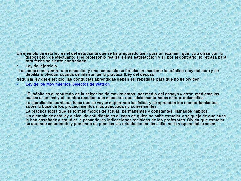 Un ejemplo de esta ley es el del estudiante que se ha preparado bien para un examen, que va a clase con la disposición de efectuarlo, si el profesor lo realiza siente satisfacción y si, por el contrario, lo retrasa para otra fecha se siente contrariado.