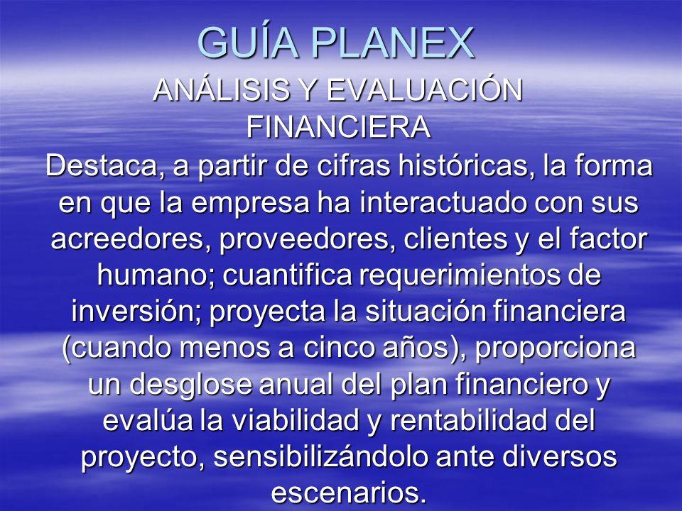 GUÍA PLANEX ANÁLISIS Y EVALUACIÓN FINANCIERA Destaca, a partir de cifras históricas, la forma en que la empresa ha interactuado con sus acreedores, pr