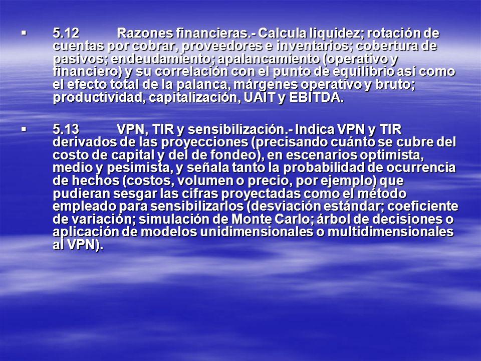 5.12Razones financieras.- Calcula liquidez; rotación de cuentas por cobrar, proveedores e inventarios; cobertura de pasivos; endeudamiento; apalancami