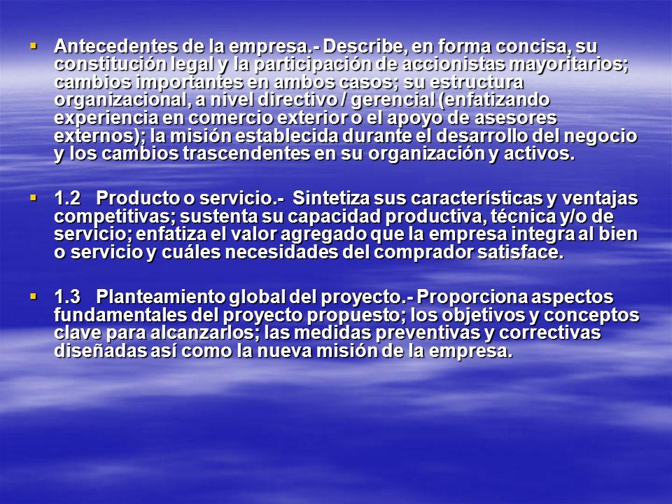 Antecedentes de la empresa.- Describe, en forma concisa, su constitución legal y la participación de accionistas mayoritarios; cambios importantes en