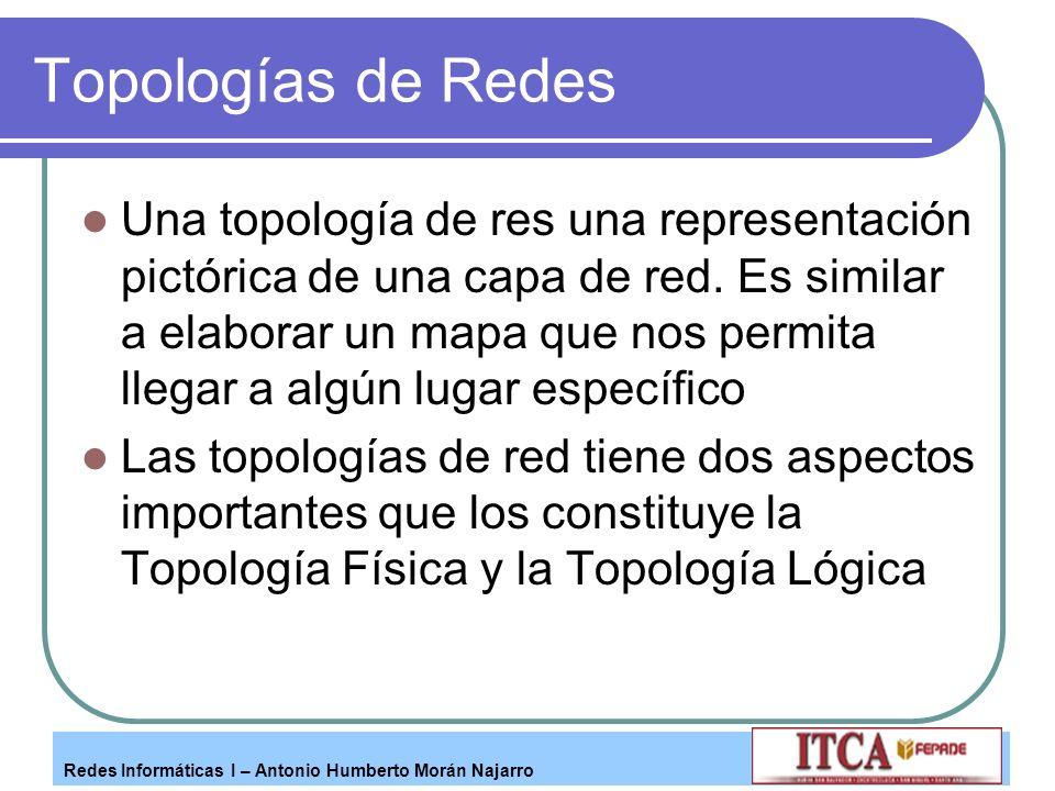 Redes Informáticas I – Antonio Humberto Morán Najarro Topologías de Redes Una topología de res una representación pictórica de una capa de red. Es sim