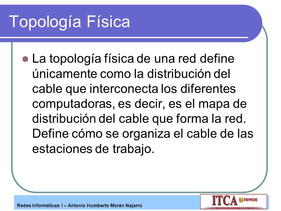 Redes Informáticas I – Antonio Humberto Morán Najarro Topología Física La topología física de una red define únicamente como la distribución del cable