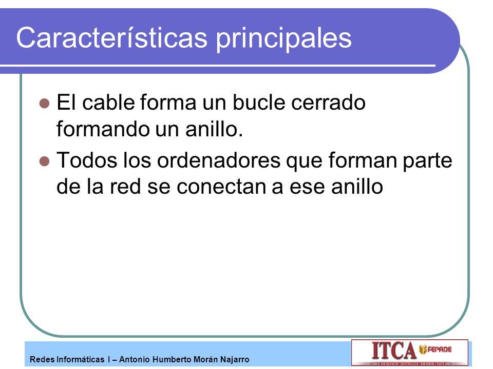 Redes Informáticas I – Antonio Humberto Morán Najarro Características principales El cable forma un bucle cerrado formando un anillo. Todos los ordena