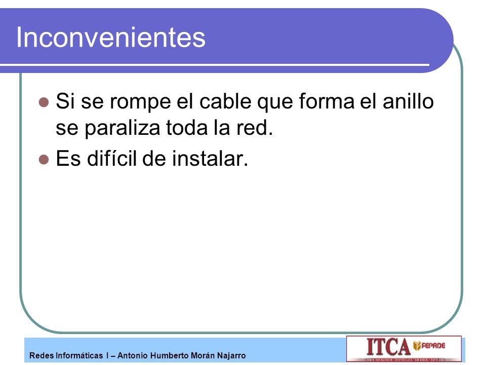 Redes Informáticas I – Antonio Humberto Morán Najarro Inconvenientes Si se rompe el cable que forma el anillo se paraliza toda la red. Es difícil de i