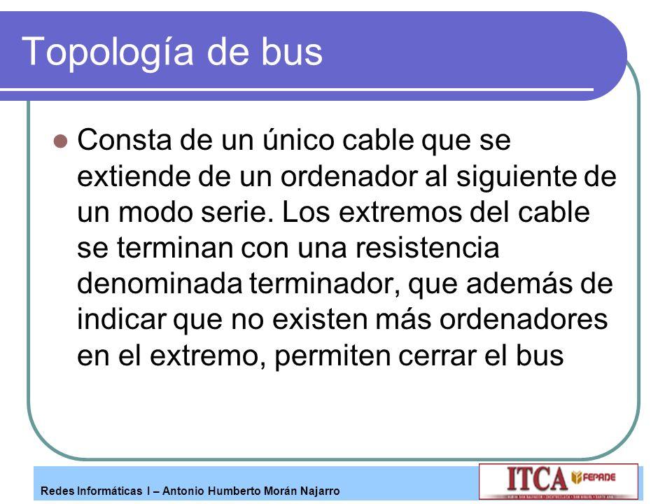 Redes Informáticas I – Antonio Humberto Morán Najarro Topología de bus Consta de un único cable que se extiende de un ordenador al siguiente de un mod