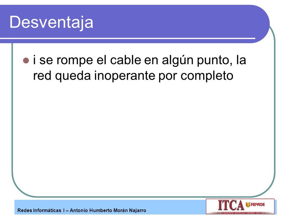 Redes Informáticas I – Antonio Humberto Morán Najarro Desventaja i se rompe el cable en algún punto, la red queda inoperante por completo