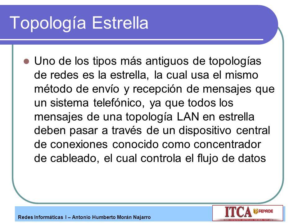 Redes Informáticas I – Antonio Humberto Morán Najarro Topología Estrella Uno de los tipos más antiguos de topologías de redes es la estrella, la cual