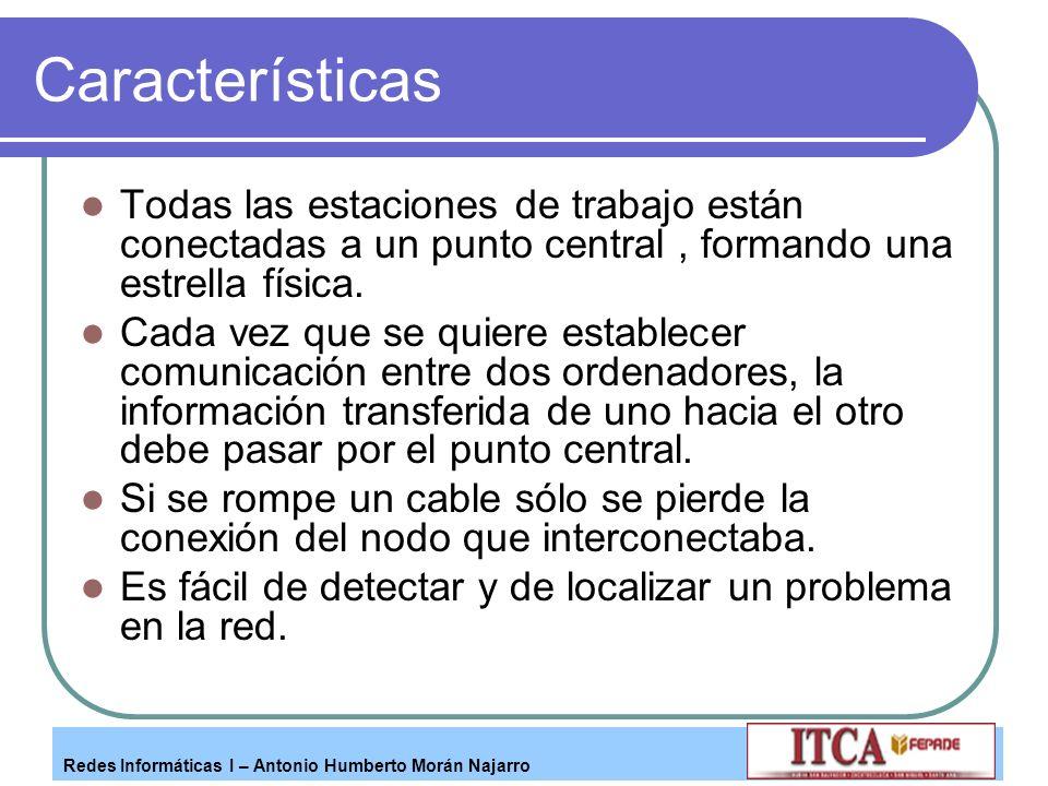 Redes Informáticas I – Antonio Humberto Morán Najarro Características Todas las estaciones de trabajo están conectadas a un punto central, formando un