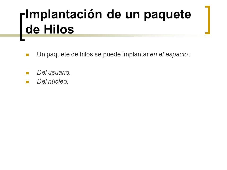 Implantación de un paquete de Hilos Un paquete de hilos se puede implantar en el espacio : Del usuario. Del núcleo.