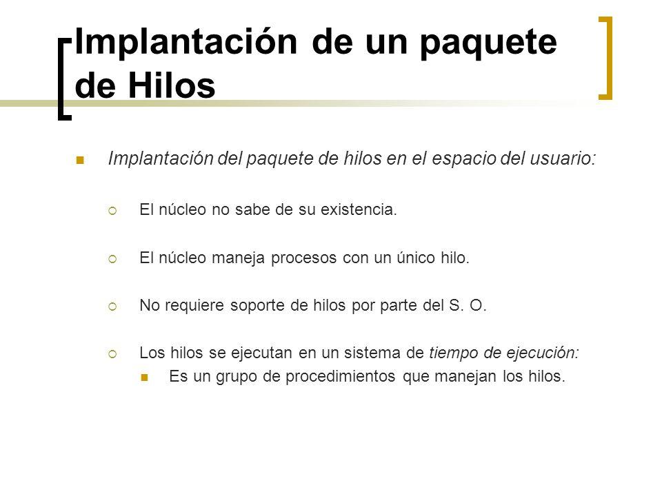 Implantación de un paquete de Hilos Implantación del paquete de hilos en el espacio del usuario: El núcleo no sabe de su existencia. El núcleo maneja