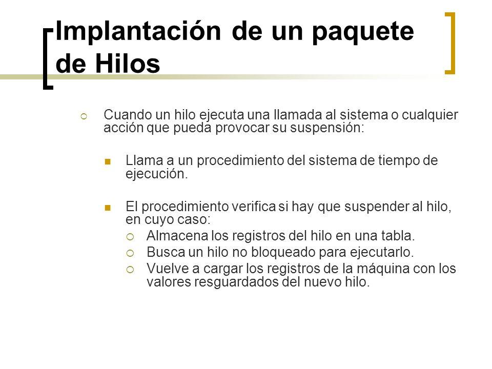 Implantación de un paquete de Hilos Cuando un hilo ejecuta una llamada al sistema o cualquier acción que pueda provocar su suspensión: Llama a un proc