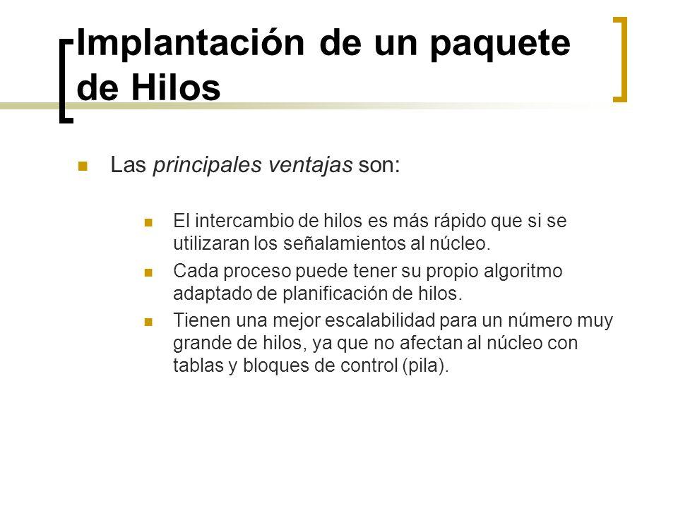 Implantación de un paquete de Hilos Las principales ventajas son: El intercambio de hilos es más rápido que si se utilizaran los señalamientos al núcl