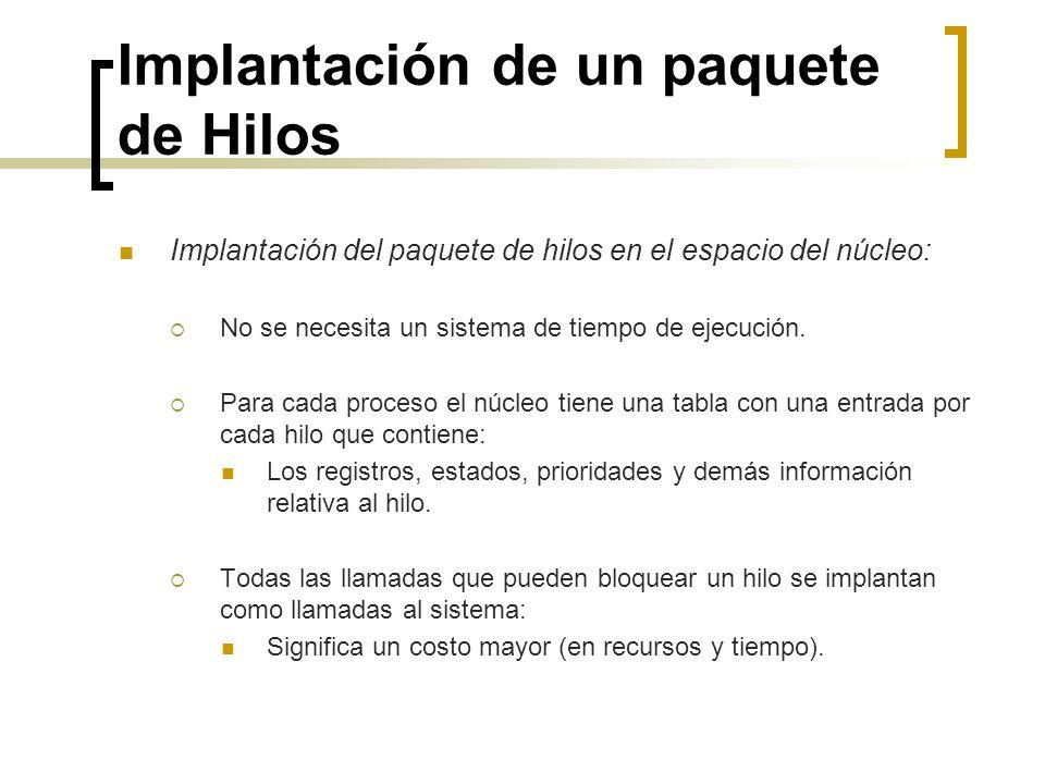 Implantación de un paquete de Hilos Implantación del paquete de hilos en el espacio del núcleo: No se necesita un sistema de tiempo de ejecución. Para