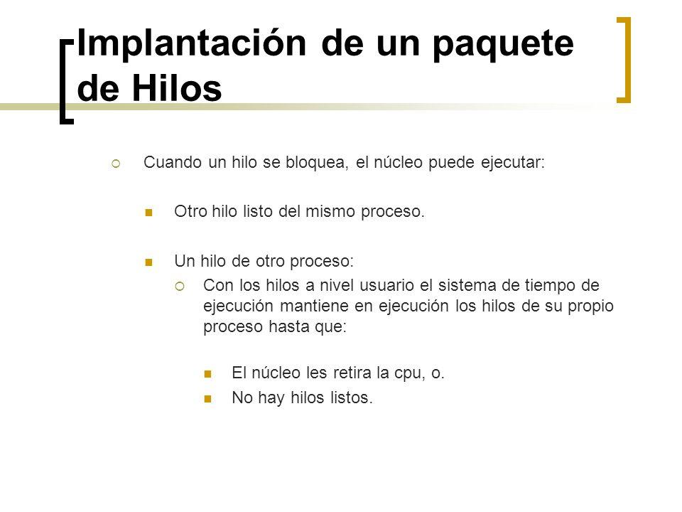 Implantación de un paquete de Hilos Cuando un hilo se bloquea, el núcleo puede ejecutar: Otro hilo listo del mismo proceso. Un hilo de otro proceso: C