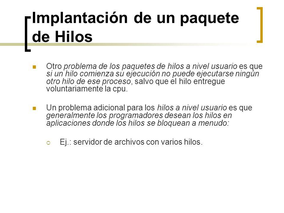 Implantación de un paquete de Hilos Otro problema de los paquetes de hilos a nivel usuario es que si un hilo comienza su ejecución no puede ejecutarse