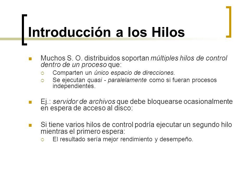 Introducción a los Hilos Muchos S. O. distribuidos soportan múltiples hilos de control dentro de un proceso que: Comparten un único espacio de direcci