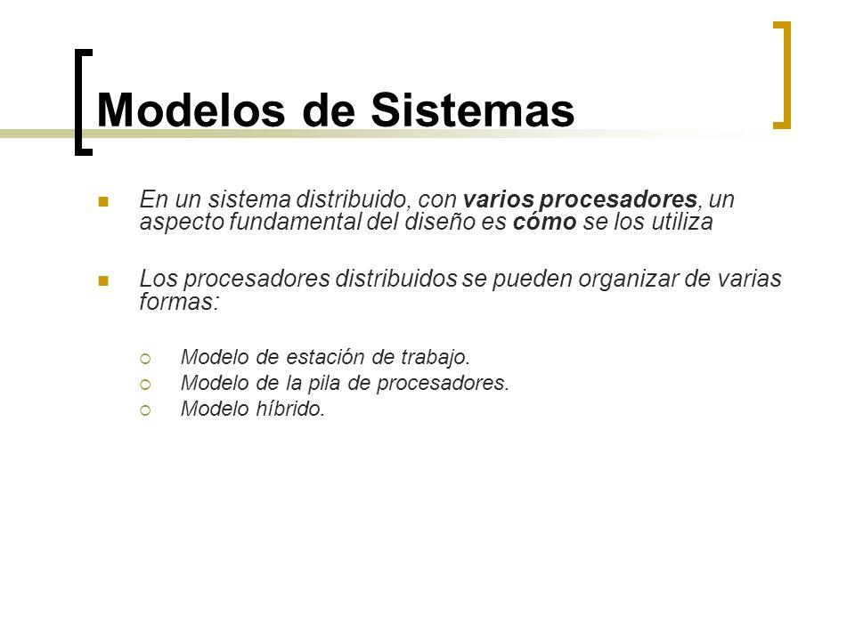 Modelos de Sistemas En un sistema distribuido, con varios procesadores, un aspecto fundamental del diseño es cómo se los utiliza Los procesadores dist