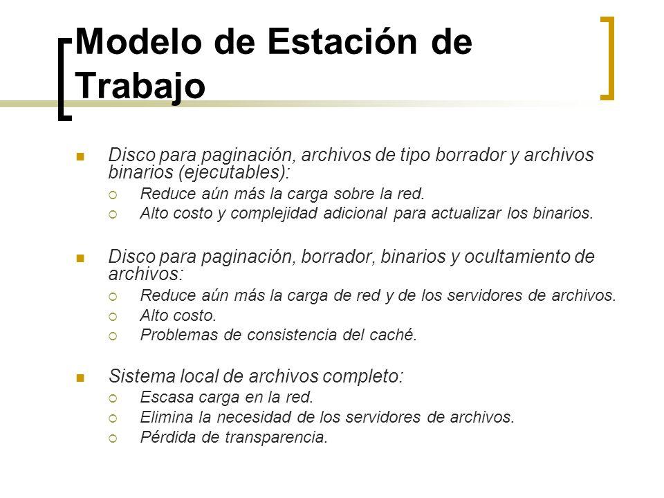 Modelo de Estación de Trabajo Disco para paginación, archivos de tipo borrador y archivos binarios (ejecutables): Reduce aún más la carga sobre la red
