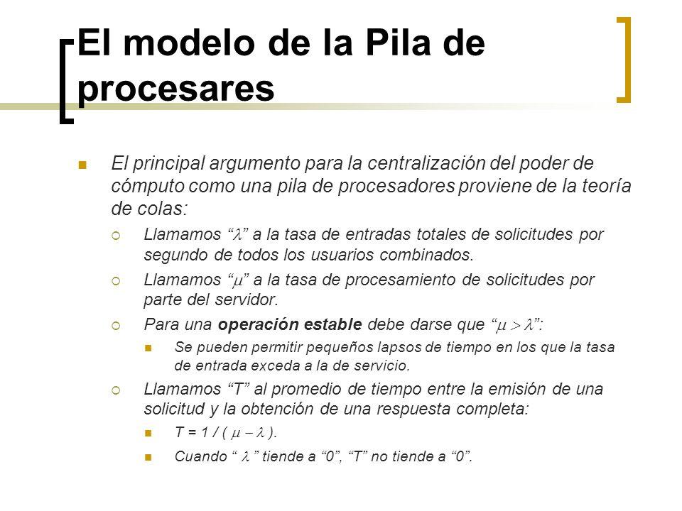 El modelo de la Pila de procesares El principal argumento para la centralización del poder de cómputo como una pila de procesadores proviene de la teo