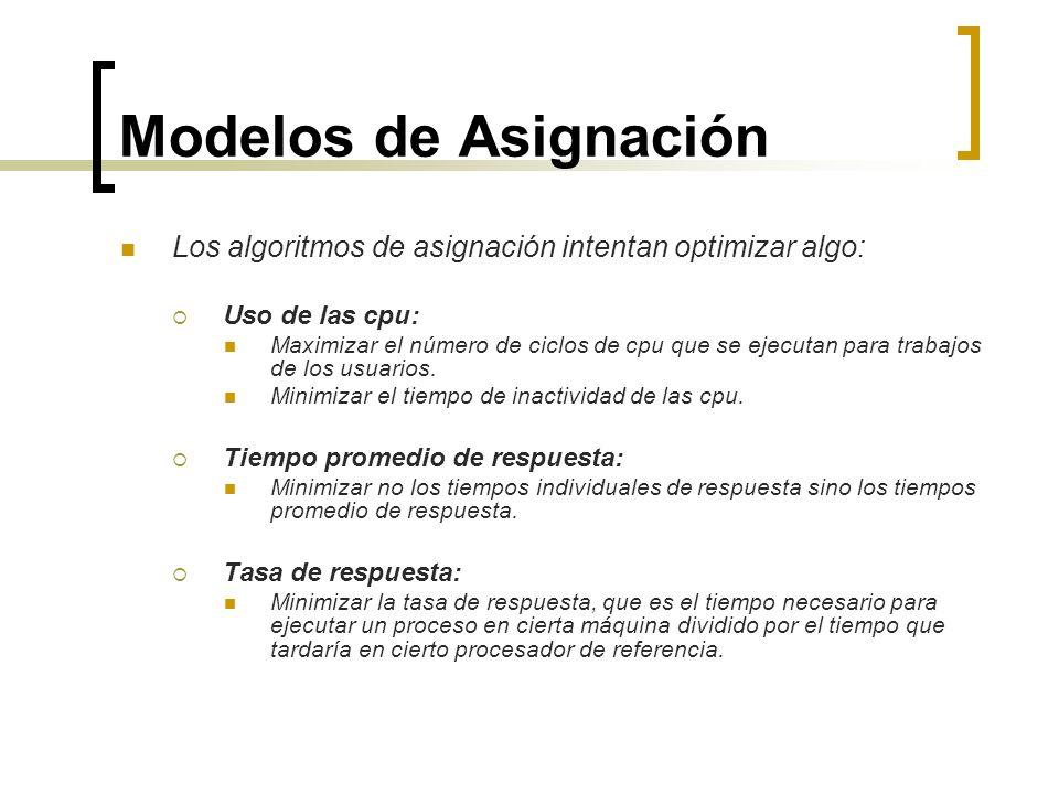 Modelos de Asignación Los algoritmos de asignación intentan optimizar algo: Uso de las cpu: Maximizar el número de ciclos de cpu que se ejecutan para