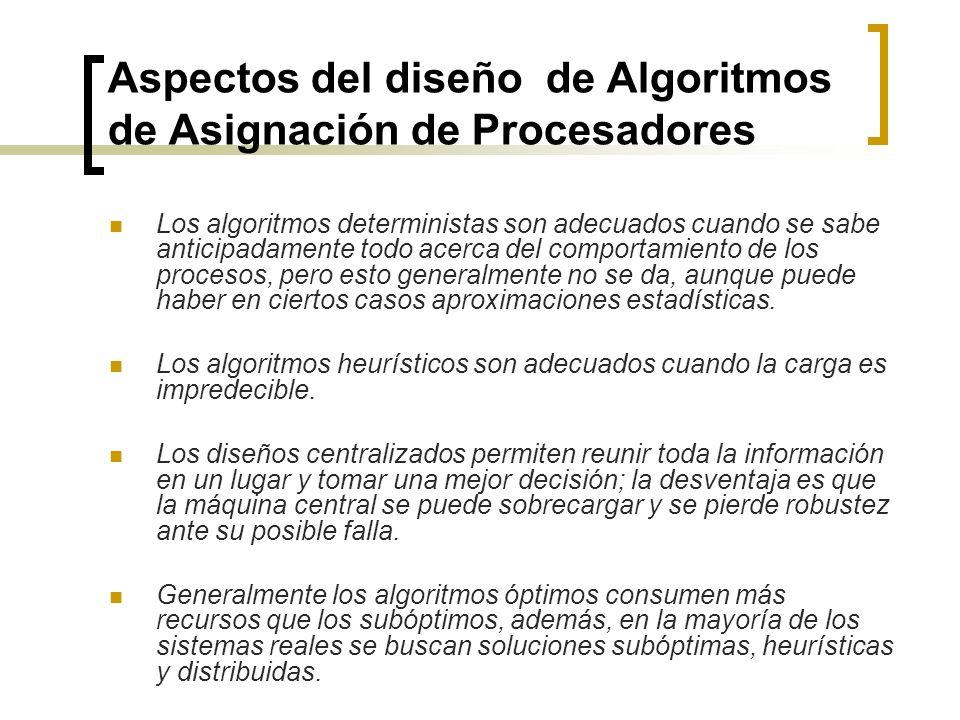 Aspectos del diseño de Algoritmos de Asignación de Procesadores Los algoritmos deterministas son adecuados cuando se sabe anticipadamente todo acerca